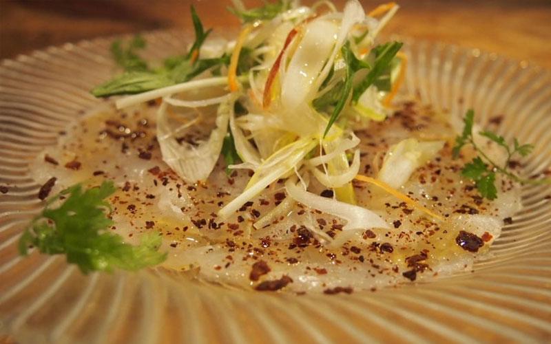 鮮魚のカルパッチョ~自家製ドライ味噌~